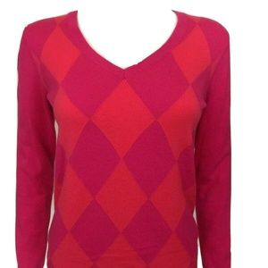 Tommy Hilfiger Womens Sz Small S Pink Argyle Pima